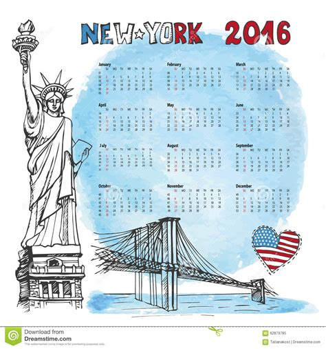 doodle calendar 2016 calendar 2016 year new york doodle watercolor stock vector