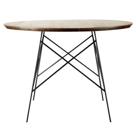 solid walnut and metal dining table w 120cm berkley
