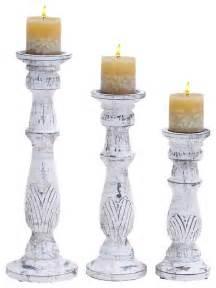 Deepa Candleholder Golden White Set Of 3 shop houzz woodland imports white antique finish wood pillar candle holder stand set of 3 home