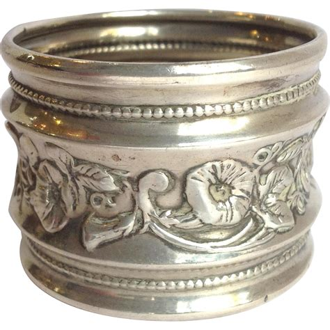 floral napkin ring antique sterling from