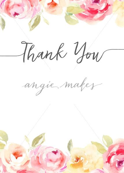 Thank You Letter Background blank thank you note background with watercolor flowers