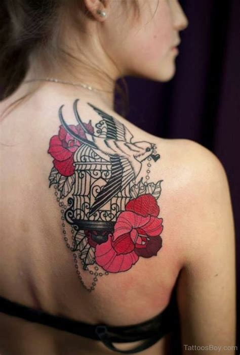 bird and flower tattoo designs cage tattoos designs pictures page 4