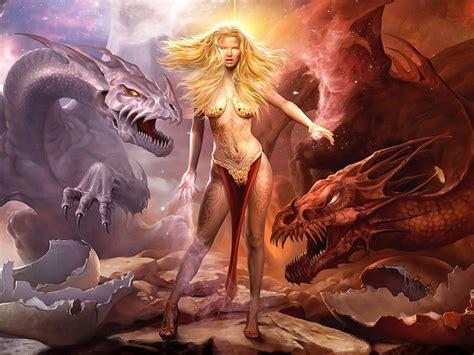 queen  dragons girl dragons fantasy art hd wallpaper