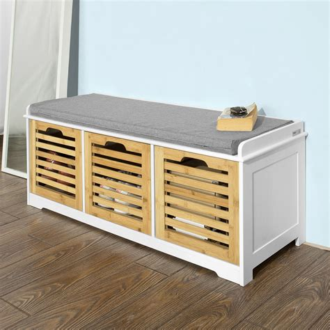 Shoe Storage With Drawers by Sobuy Storage Bench With 3 Drawers Shoe Cabinet With Seat