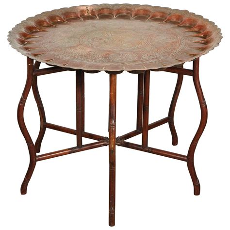 tray tables large turkish copper tray table on bamboo folding base at