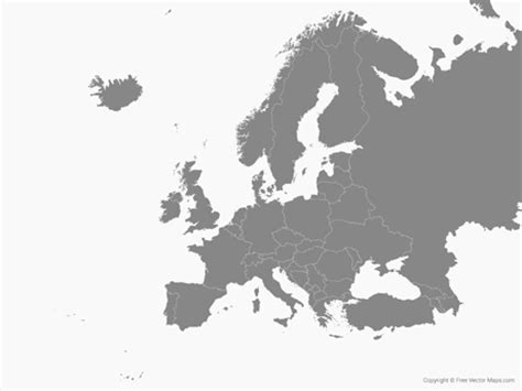 europe middle east vector map vector map of europe with countries single color free