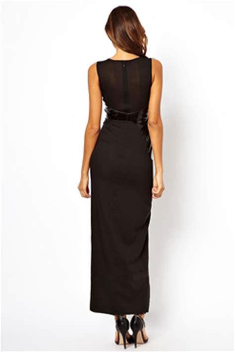 12835 Black Dress 2014 trendy sleeveless high slit leather spliced evening dress