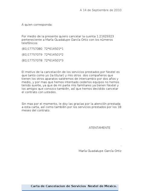 carta de cancelar un servicio carta de cancelacion de servicios nextel de mexico