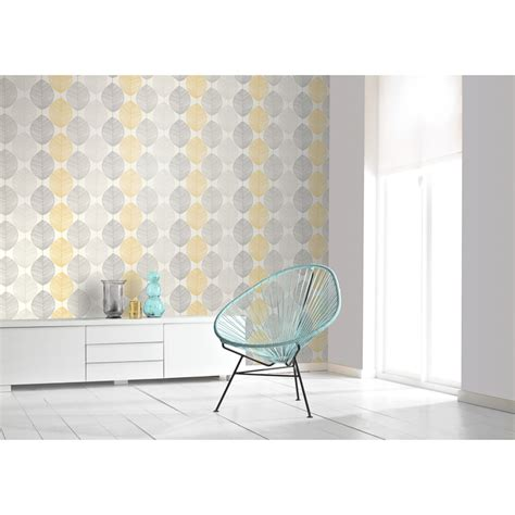 scandi leaf wallpaper yellow wallpaper bm