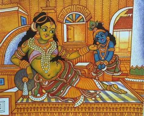 Hand Painted Murals On Walls little krishna and yashoda kerala murals paintings