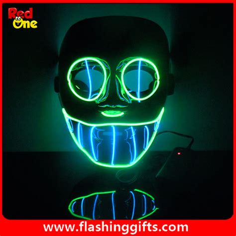 Dj Giveaways Wholesale - el flashing mask two colors mix green and blue el party led mask pvc dj dance mask