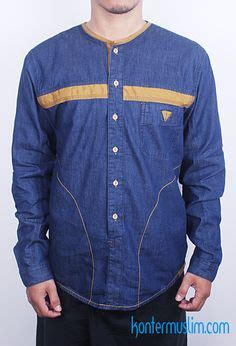 Baju Koko Modern baju muslim pria baju koko modern the exclusive shade detail bahan soft dobby denim