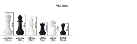 size chess chess pieces