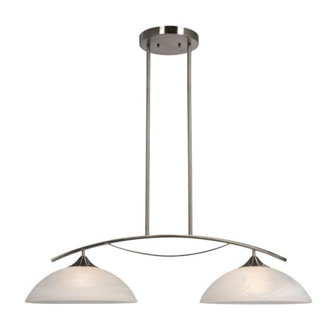 Brushed Nickel Kitchen Island Lighting Shop Galaxy Metro 34 37 In W 2 Light Brushed Nickel Kitchen Island Light With White Shade At
