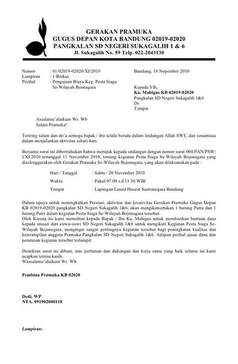 surat pengajuan biaya pramuka