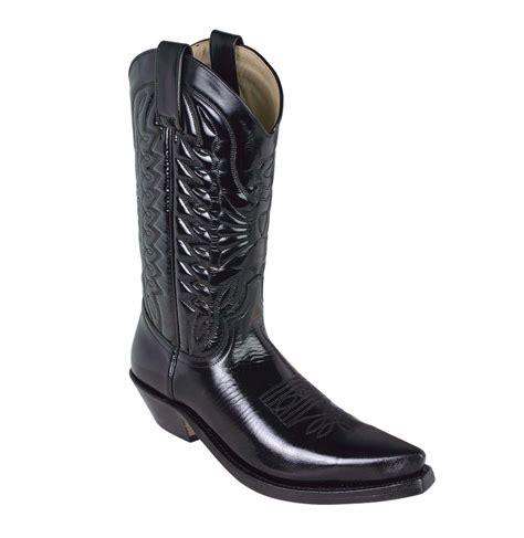 mens black leather cowboy boots varnished black leather cowboy boots black leather western