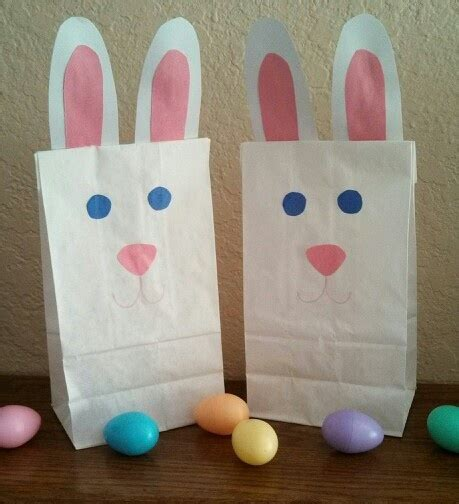 easter bunny goodie bags white paper lunch sacks