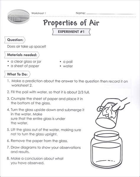properties of air worksheet science activities for grade