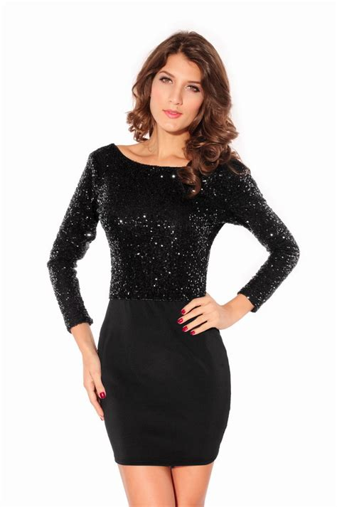 black long sleeve sequin dress 2015 with jersey mini dress black sequin cowl long sleeve