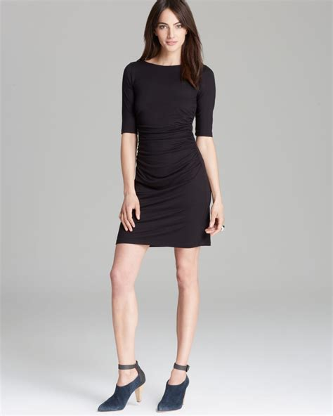 draped dresses with sleeves three dots elbow sleeve draped dress in black lyst