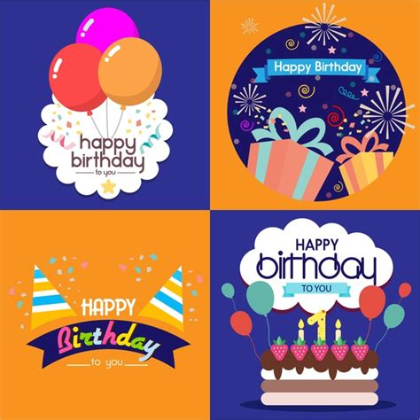 Illustrator Birthday Card Template by Birthday Card Templates Isolated With Various Styles Free