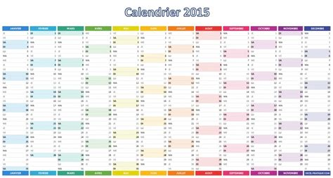 Tableau Calendrier Calendrier 2015 Simple