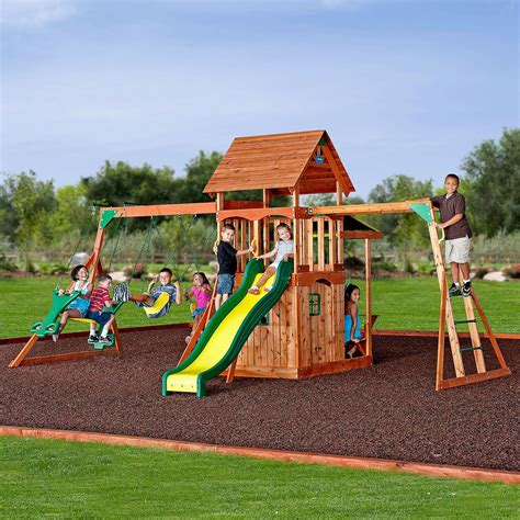 swing set cedar wood swing set playground outdoor backyard fort