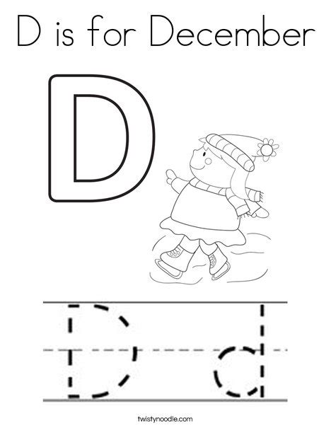 december coloring pages printable d is for december coloring page twisty noodle