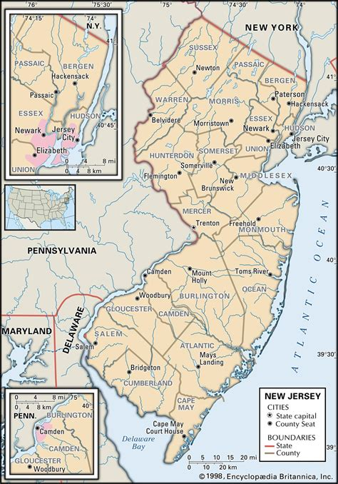 map of new jersey delaware state and county maps of new jersey