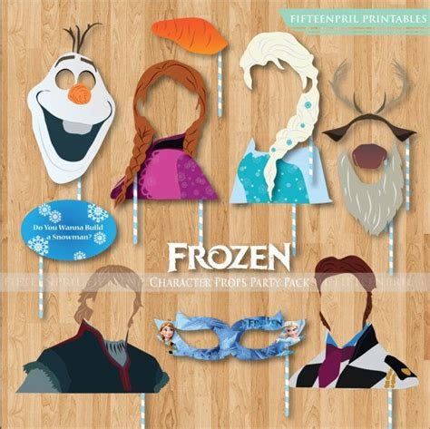 printable photo booth props frozen frozen characters party props printables by fifteenpril on
