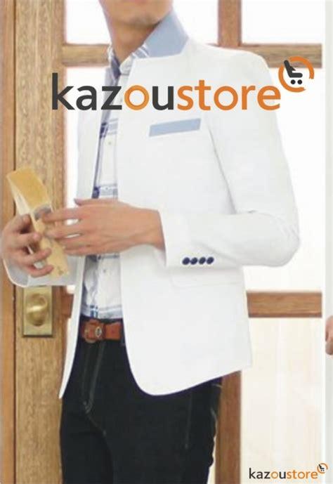Jaket Jas Jas Pria Casual Putih detil produk blazer pria korea putih bc104 kazoustore