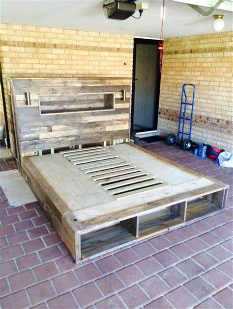 diy pallet bed  headboard  lights  pallet ideas