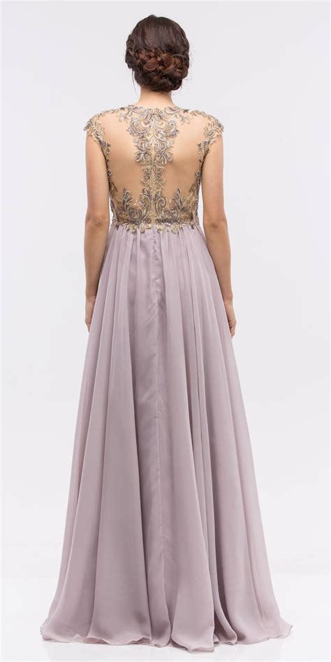 Longdress Cap stunning cap sleeve chiffon dress lilac a