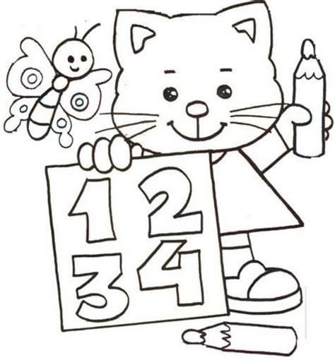 imagenes matematicas colorear fichas numeros numero gato