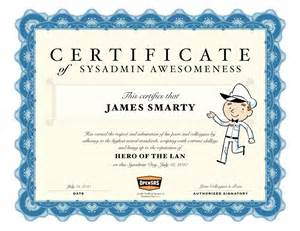 Certificate Of Awesomeness Template by Opensrs Sysadmin Day Use Our Fancy Certificate Of