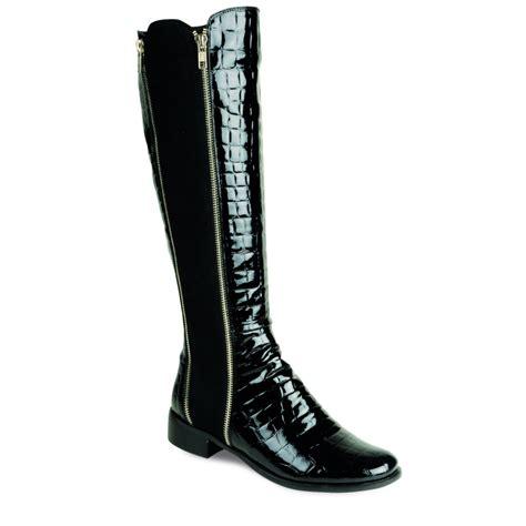 black boots glc368 black patent croc boot