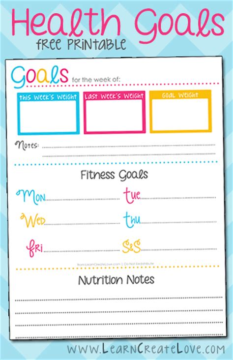 printable health goals tracker