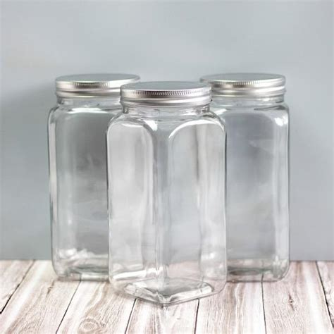 square glass canisters  pantry storage kiwi family