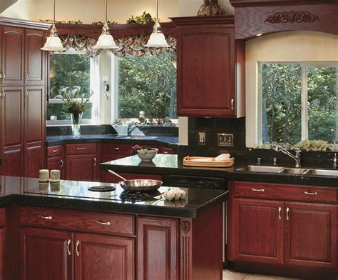 red oak cabinets kitchen canyon creek cornerstone shalimar in red oak with