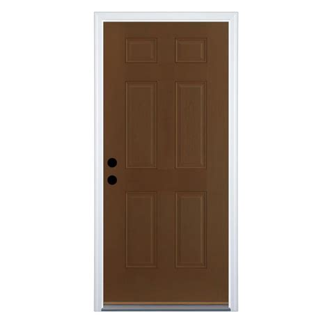 Stain For Fiberglass Exterior Doors Shop Therma Tru Benchmark Doors Right Inswing Walnut Stained Fiberglass Entry Door With