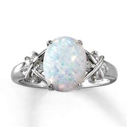 Opel Ring Jared Lab Created Opal Ring Oval Cut With Diamonds 10k