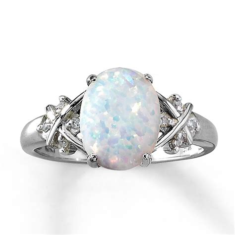 jared lab created opal ring oval cut with diamonds 10k