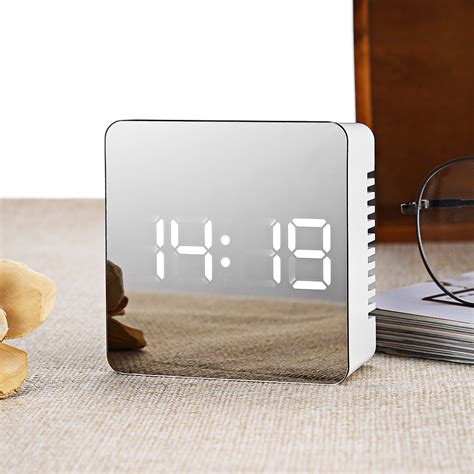 jam meja led digital mirror clock with temperature white jakartanotebook