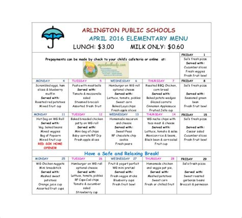 School Lunch Menu Template School Menu Templates 14 Free Printable Pdf Documents Download Ideas Free Printable Lunch Menu Template