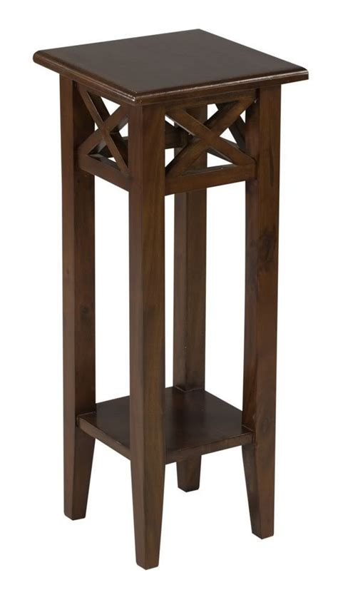 tall accent table 30 quot tall medium brown pedestal accent country style small