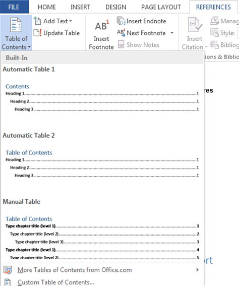 Create Table Of Contents In Word 2013 by How To Create A Table Of Contents In Word 2013 Tutorials