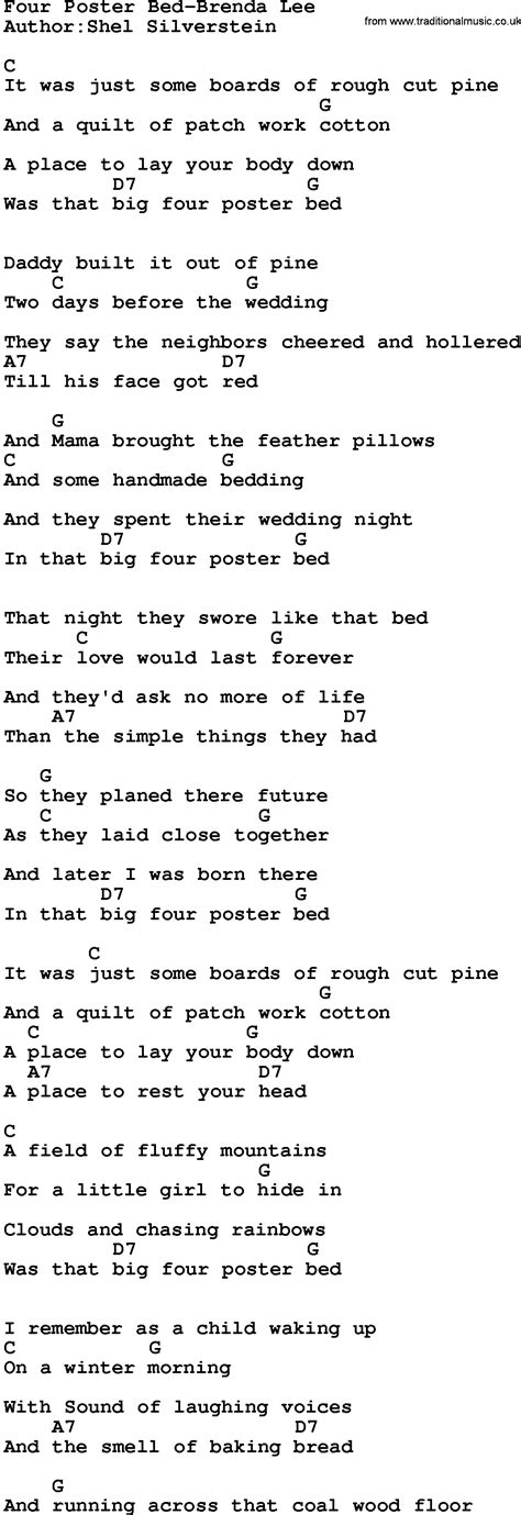 four post bed song country music four poster bed brenda lee lyrics and chords