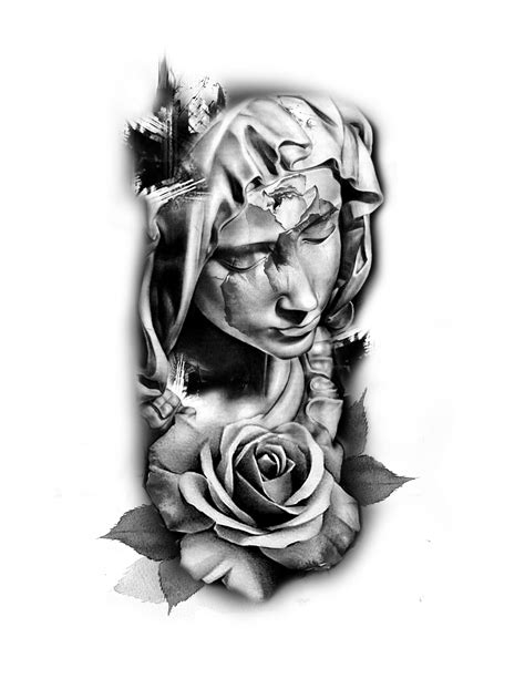 virgin mary with roses tattoo madonna idea статуї архітектура