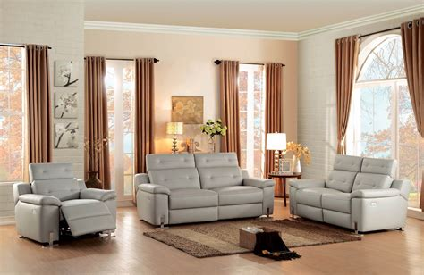 grey leather reclining sofa set 3 homelegance vortex top grain grey leather power