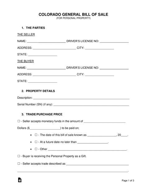 Free Colorado General Bill Of Sale Form Word Pdf Eforms Free Fillable Forms Bill Of Sale Template Colorado